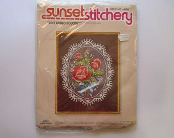 vintage embroidery kit - Sunset Stitchery LACE CAMEO BOUQUET - unopened - circa 1980 - vintage kit, vintage supply