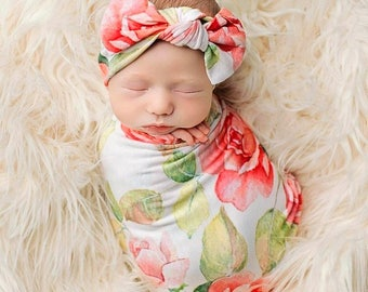 Swaddle Blanket headband Set Coral Pink rose baby girl gift newborn sleep help first  photos coming home new mom Christmas gift baby