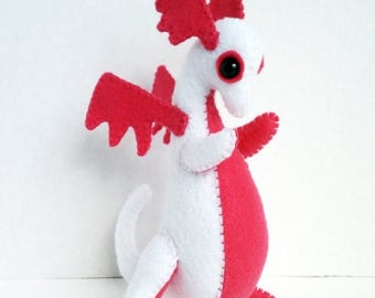 ON SALE Baby Dragon felt plush stuffed animal- White with hot pink