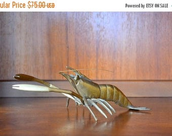 CIJ SALE 25% OFF vintage brass lobster figurine