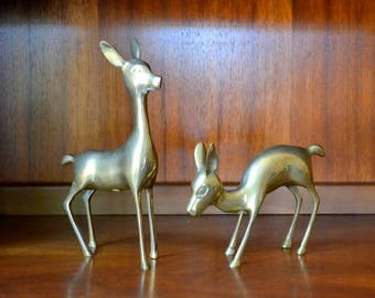vintage brass deer figurines / brass animal home decor / holiday decor