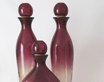 Vintage Art Glass Bottles with Stoppers. Smoke Glass with Amethyst accents from Spain.