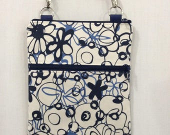 Cross Body Bag, Zippered Shoulder Purse, Sling Bag, Small Travel Purse, iPad, Navy and Cream Abstract