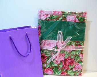 Gift Set - peg bag and matching ironing board cover - petty pink delicate roses