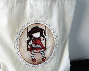 Library Bag book bag - cute little girl with cat on a swing - Back to School