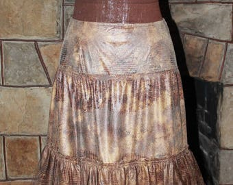 Beautiful Handcrafted Ladies Long Skirt Created From Faux Suede Fabric With Layers of Tulle