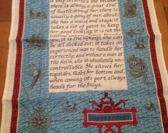 Ulster Irish Linen Tea Towel Ships Sailors Nautical Seafarer She