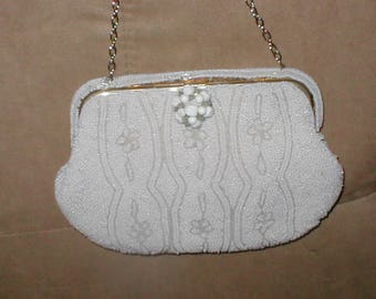 Vintage 1940's White Beaded Evening Purse from Belgium