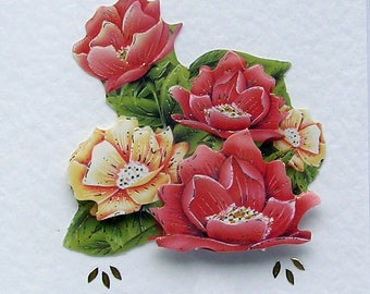 Pink Flowers - Hand Crafted 3D Decoupage Card, Best Wishe (2033), Birthday Card, Layered Card, Flower Card, Summer, Sympathy. Garden