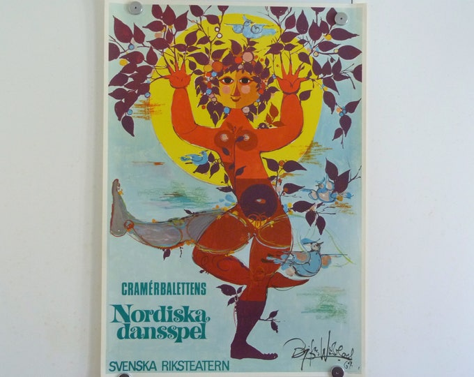 Bjorn Wiinblad Poster Nordic Dansspel, 1967  Vintage Danish original print