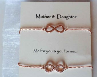 mother daughter matching infinity bracelets, Best Friends infinity bracelets, Sisters infinity bracelet set rose gold, silver, gold infinity