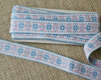 Vintage Pink and Blue Geometric Ribbon Trim