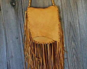 ON SALE Fringed crossbody handbag ,  Leather handbag with fringe , Leather handbag , Fringed leather purse , Fringed gypsy handbag