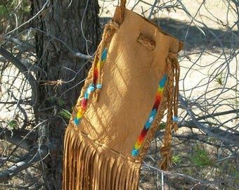 ON SALE Beaded drawstring pouch , Fringed buckskin cedar bag , Fringed leather wrist bag , Fringed medicine bag ,  Beaded bag
