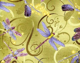 New - Dance of the Dragonfly Celedon Metallic - Kanvas - 1 yard - More Available - BTY