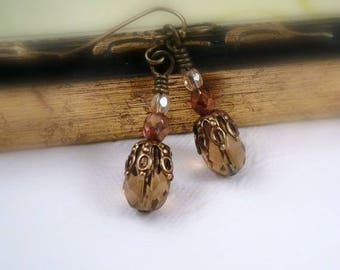 Fall Jewelry Autumn Earrings Brass and Swarovski Crystal Brown Topaz Earrings Antique Brass Jewelry Vintage Inspired Birthday Gift