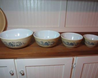 4 Pyrex Mixing Bowls, Homestead, Folk Art, Fraktur, Kitchen, Baking, 1970s, Pyrex Nesting Bowls PX500