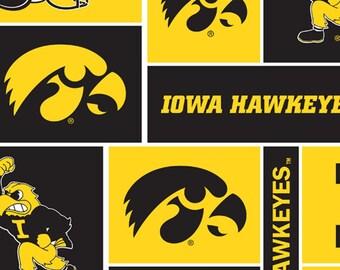 University of Iowa from Sykel Enterprises - Full or Half Yard Iowa Hawkeyes Cotton