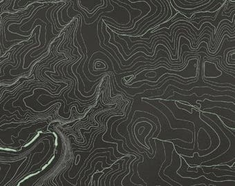World Map Fabric Windham. Meridian from Windham Fabrics  Full or Half Yard Topographical curves Black Topographic fabric Etsy