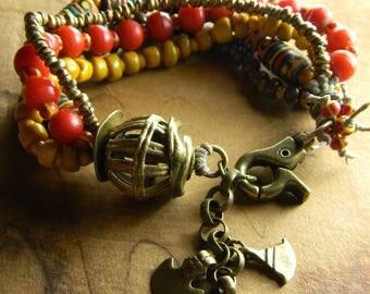 African Tribal Bracelet Trade Bead Red Yellow Black Ghana Ethnic Multi-Strand Women's Jewelry