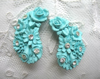 Vintage Carved Celluloid & Rhinestone Flower Earrings ~ Clip On ~ Turquoise