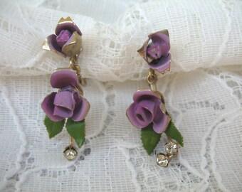 Vintage Enamel Flower & Rhinestone Dangle Earrings ~ Screwbacks