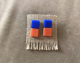 Blue & orange tile earrings