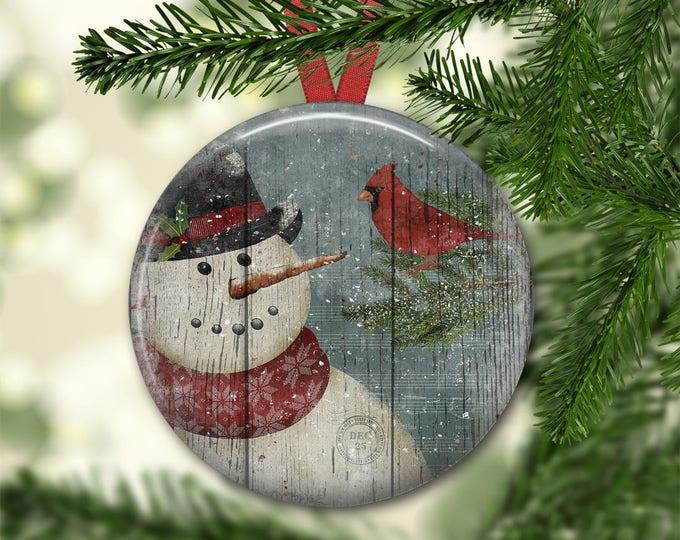 Prim snowman ornament for tree - Christmas decorations for tree - primitive  Christmas tree ornaments -  ORN-43