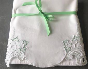 Vintage pillowcases, set, white cotton,mint green,  embroidered