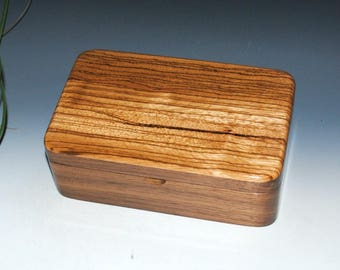 Zebrawood on Walnut -  Handmade Wooden Stash Box - a Guy Favorite - USA Made by BurlWoodBox -Small Wood Box, Jewelry Box, Wooden Jewelry box