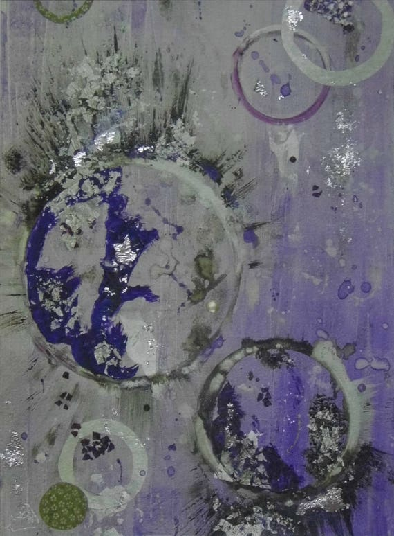 Purple & Silver Abstract Print
