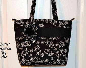 REAdY To SHiP Quilted Purse Bag Tote with Zipper Closure by Quilted Creations By Me