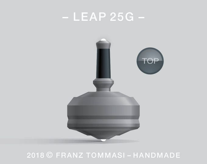 LEAP 25G Gray – Precision handmade spin top with dual ceramic tip and integrated rubber grip