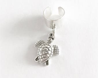 Turtle Ear Cuff / Boho Festival Style Lover Gift No Piercing Silver Bohemian Summer Dangly Charm Wrap Gypsy Wear Accessories Turtle Lover