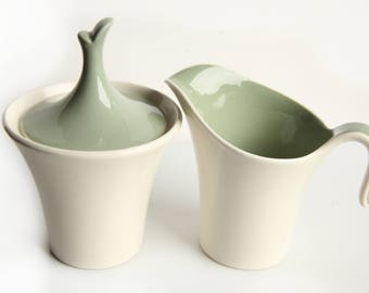 Danish Modern Sugar Bowl w/ lid & Creamer ~ Vintage Mid Century Pottery ~ Tea / Coffee ~ Green and Cream Colors