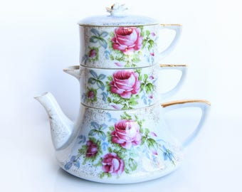 Dresden Rose Stacking Teapot ~ Norcrest China Teapot, Sugar Bowl w/ lid & Creamer ~ Pink Roses ~ English Tea Party