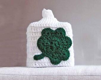 Shamrock Tissue Box Cover, Crochet Cozy, Kleenex Tissue Holder, Storage, Boutique Square Cube, Green and White, Bathroom Decor, Irish Gift