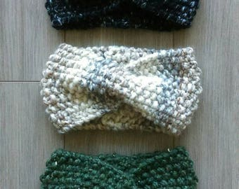 Knit Turban Headband with Coconut Buttons