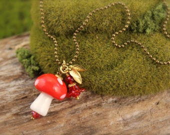 Mushroom Toadstool Red Flow Leaf Charm Necklace