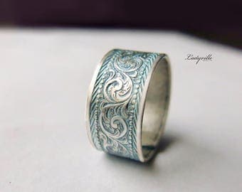 Vintage Silver Ring with Smoke Blue Patina