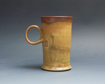 Pottery coffee mug, ceramic mug, stoneware tea cup honey amber 14 oz 4047