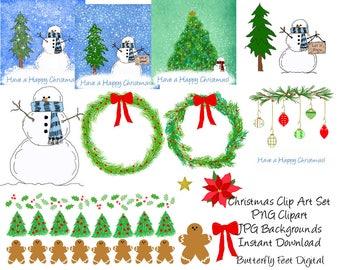 Christmas Clip Art, PNG, JPG, Snowman, Printable Holiday, Card Making, Scrapbooking, Instant Digital Download,