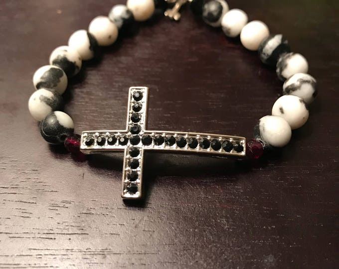 Pave Cross Beaded Bracelet