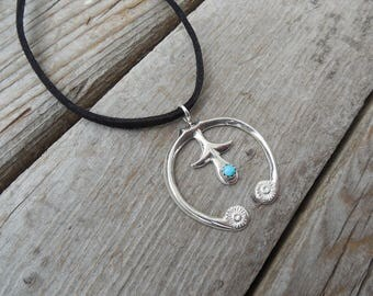ON SALE Naja turquoise necklace handmade in sterling silver