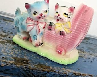 Vintage Cats Planter Cradle Planter Japan Planter Pink Cat Planter Blue Cat Planter Nursery Planter Pastel Cat Planter