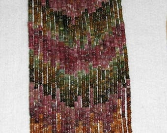 Tourmaline, Multicolor Heishi, Smooth Heishi, Rondelle Bead, Tourmaline Bead, Semi Precious, Gemstone, Opaque Bead, Full Strand, No4, 3-4mm