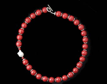 Guru Necklace No.2 - Red Jade with Silver Bead Caps, Ruby and Freshwater Pearl Necklace