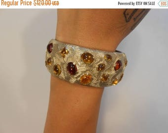 Clearance 60% Off Bursting Forth in Autumn - Late 1940s Castlecliff Gold Tone Clamper Bracelet w/Amber & Golden Wheat Cabochons