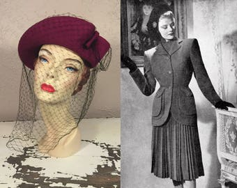 Its All Go Hide & Seek - Vintage 1940s WW2 Magenta Felt Bicorne  Hat w/Large Netting