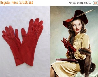 Anniversary Sale 35% Off The Shanghai Gesture - Vintage 1940s Lipstick Siren Red Nubuck Leather Gloves - 6/6.5
